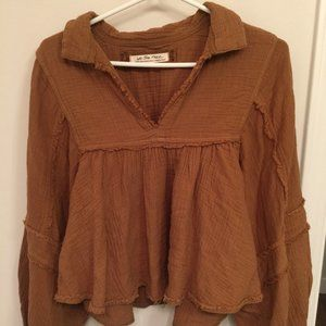 Free People cotton longsleeve blouse xs/s/m